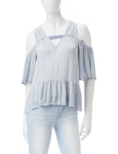 Eyeshadow Pinstriped Cold Shoulder Top