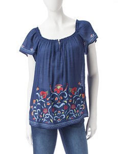 A. Byer Embroidered Off-The-Shoulder Top