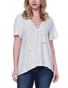 Taylor & Sage Striped Lace Back Top