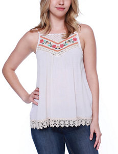 Taylor & Sage Embroidered Crochet Inset Top