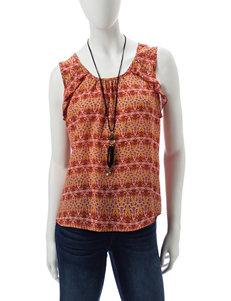 Lily White Orange Shirts & Blouses Tees & Tanks