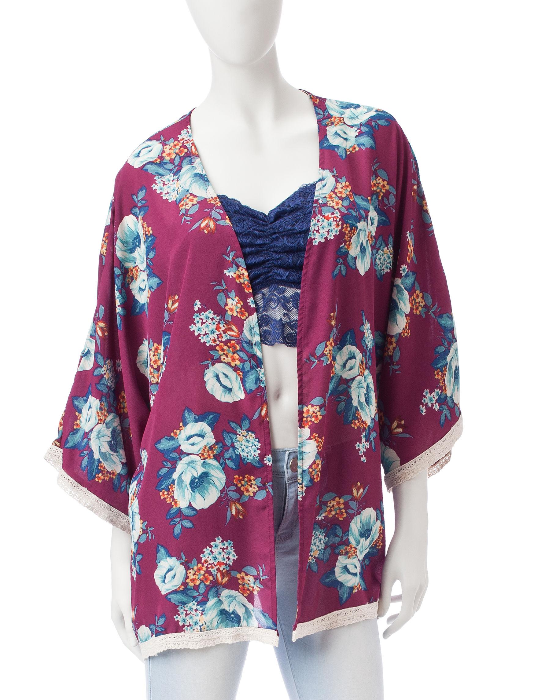 Wishful Park Burgundy Kimonos Shirts & Blouses