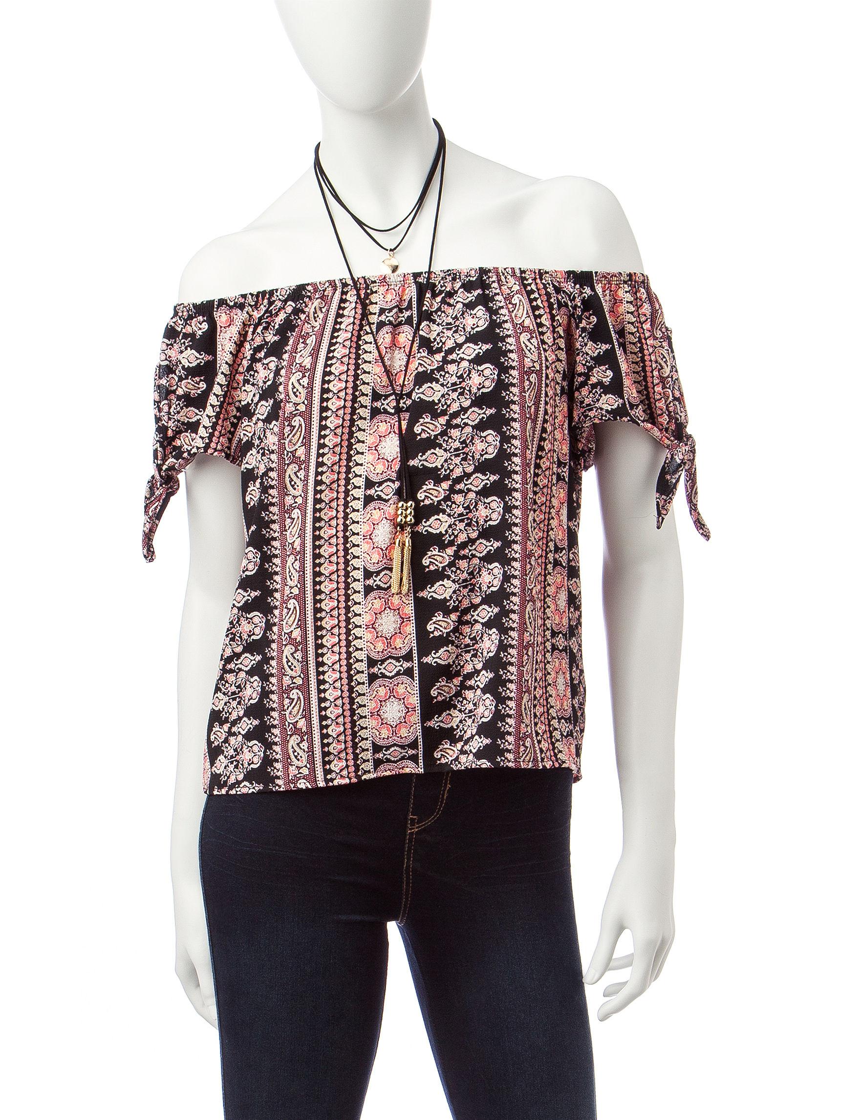 Wishful Park Pink / Black Shirts & Blouses