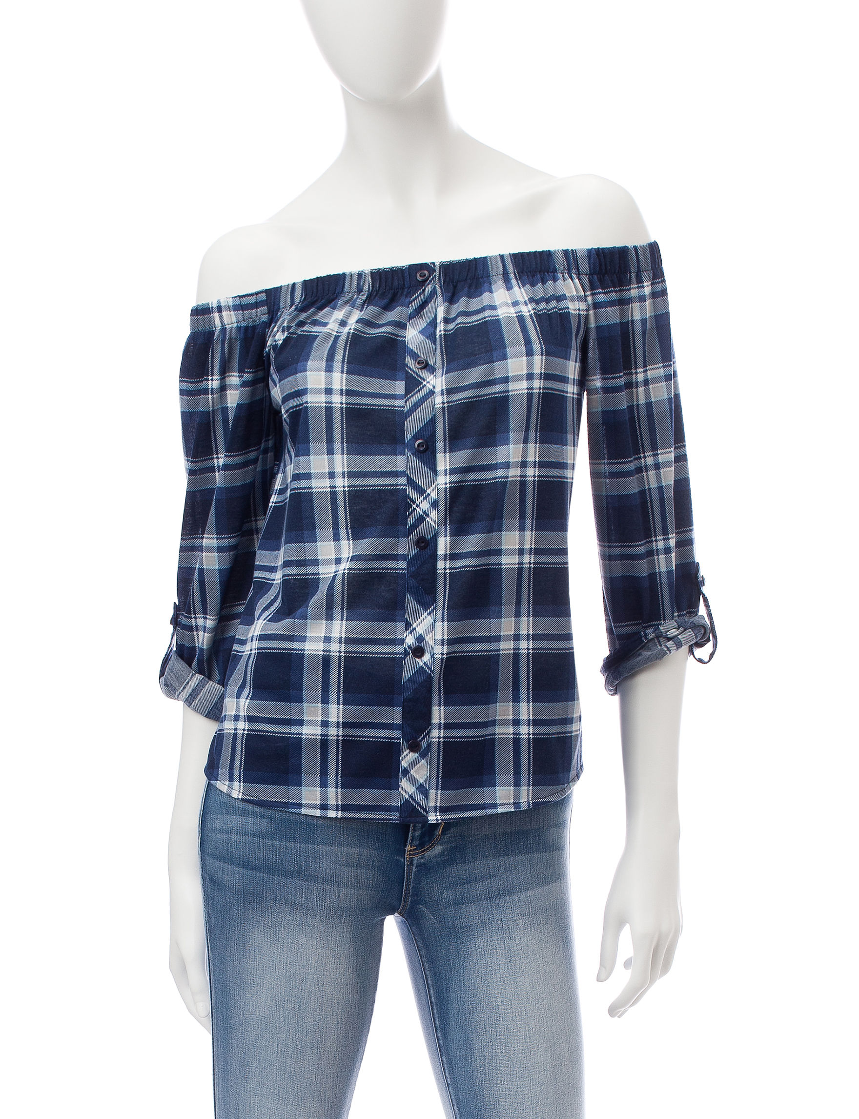 Wishful Park Blue / Plaid Shirts & Blouses