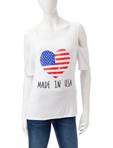 Double Click White Shirts & Blouses Tees & Tanks