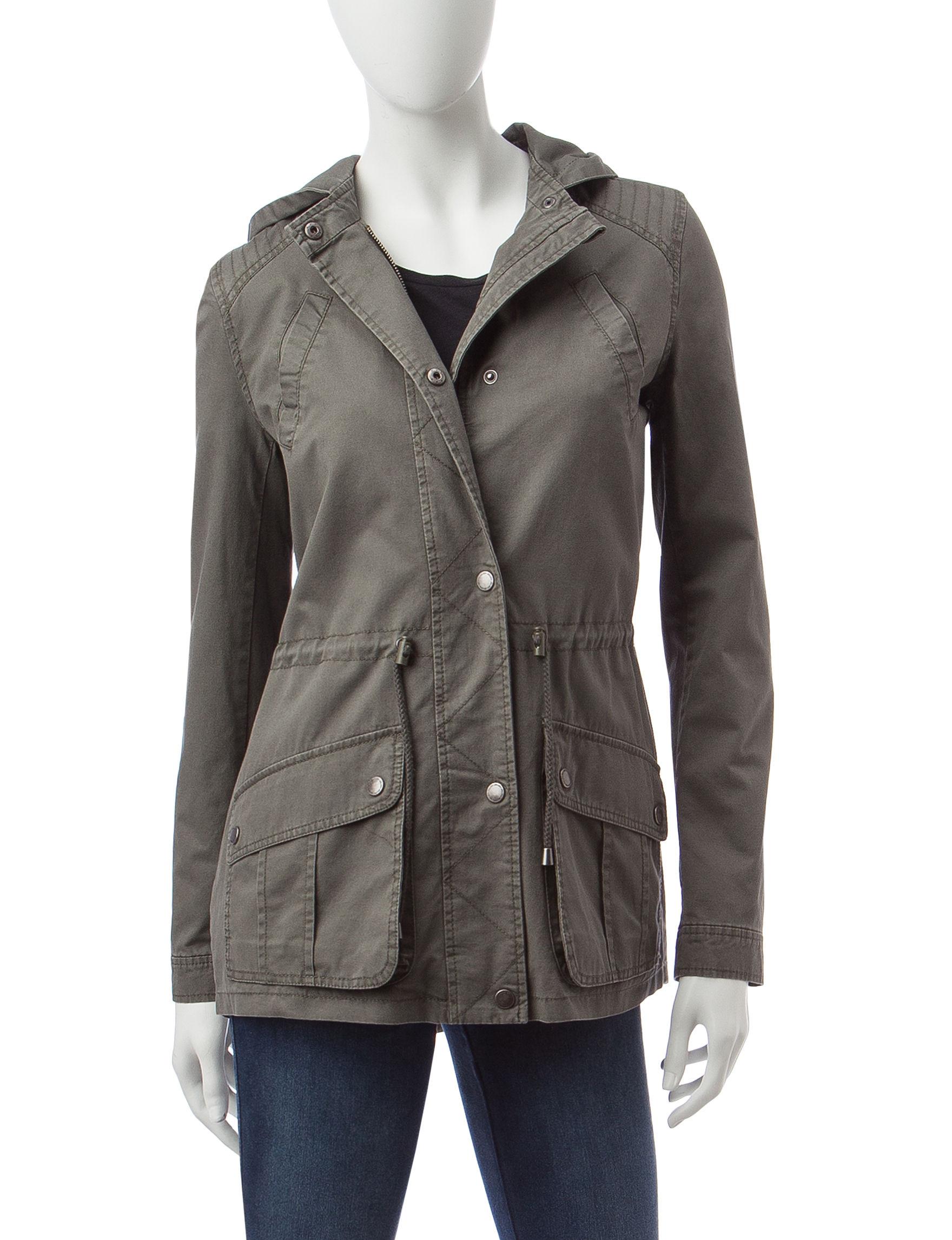 Jou-Jou Olive Lightweight Jackets & Blazers