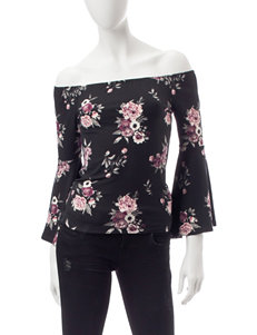Wishful Park Black Floral Shirts & Blouses