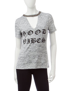 Almost Famous Light Grey Tees & Tanks