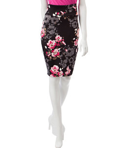 No Comment Floral Print Bodycon Skirt
