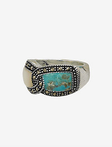 Fine Silver Plated Turquoise & Mother of Pearl Interlocked Ring