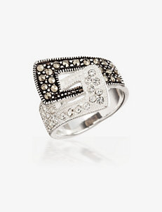 Clear Crystal & Genuine Marcasite Accent Silver Plated Buckle Ring