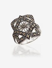 Genuine Marcasite Accent Silver Plated Square Ring