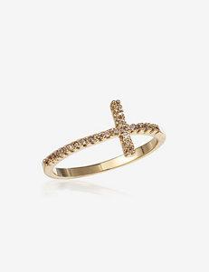 CZ Sideways Cross Ring - Gift Boxed
