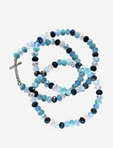 Hannah 3-pc. Cross Glass Beaded Stretch Bracelet