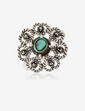 Marcasite Opaque Daisy Ring