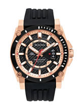 Bulova Men's Black & Rose-Gold-Tone Chronograph Dress Watch