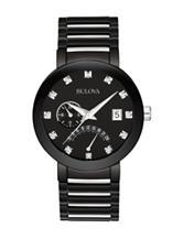 Bulova Men's Black Diamond Accented Round Analog Dress Watch