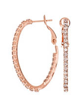5th & Luxe Genuine Crystal Oval Hoop Earrings