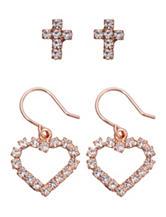 5th & Luxe 2-Pair Genuine Crystal Heart Drop & Stud Earrings Set