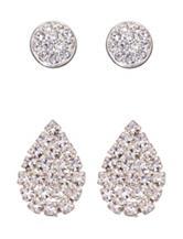 5th & Luxe 2-Pair Genuine Crystal Earrings Set