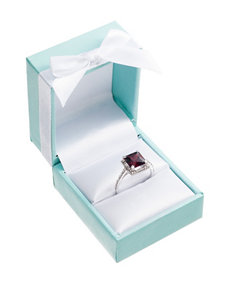 City by City Silver-Tone Red Cubic Zirconia Ring - Gift Boxed