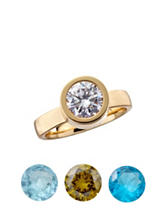 Gold-Tone Fine Silver Plated Interchangeable Cubic Zirconia Ring