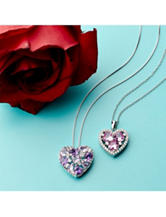 Sterling Silver Created Pink Sapphire Heart Necklace