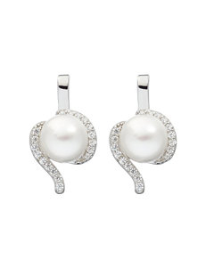 Kencraft White / Silver Earrings Fine Jewelry