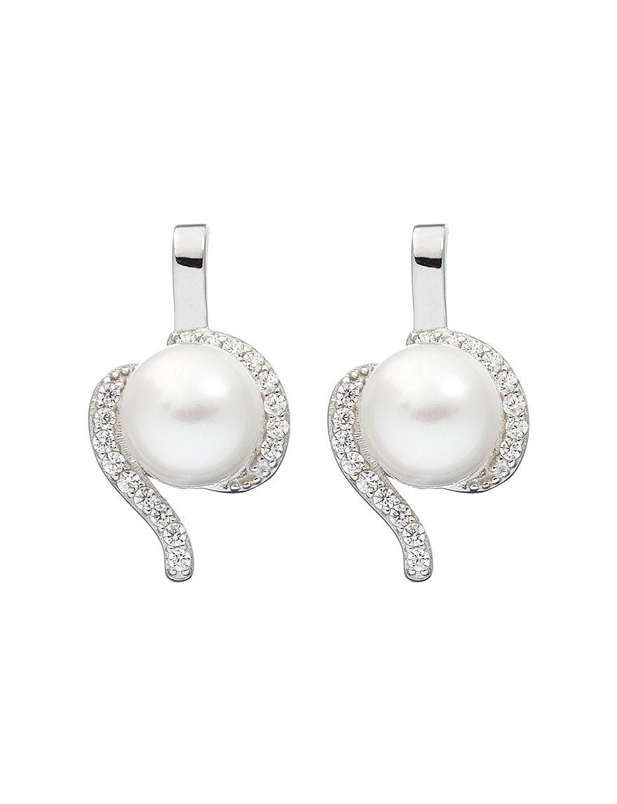 Kencraft White / Silver Earrings Fine Jewelry
