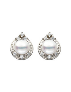 Kencraft White / Silver Studs Earrings Fine Jewelry