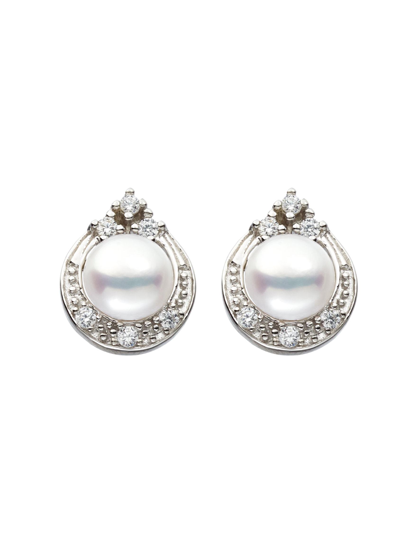 Kencraft White / Silver Studs Earrings Fine Jewelry