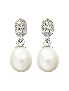 Kencraft White / Silver Drops Earrings Fine Jewelry