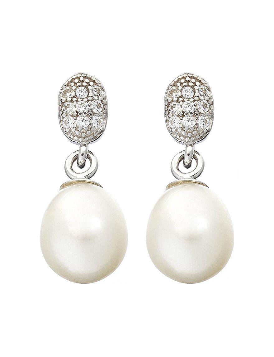 Kencraft White / Silver Drops Earrings Fine Jewelry