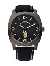 U.S. Polo Assn. Black Faux Leather Strap Watch