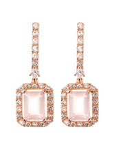 PAJ Inc. Cushion Cut Rose Quartz Drop Earrings