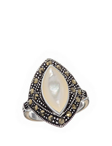 Fine Silver Plated Mother Of Pearl Marquis Ring