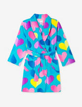 Komar Kids Rainbow Heart Print Plush Robe – Girls 4-12