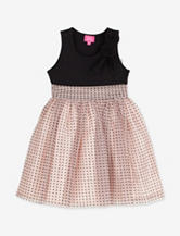 Pinky Black & Pink Flocked Dot Mesh Dress – Toddler Girls