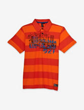 Point Zero Orange Wide Striped Screen Print Polo Shirt – Boys 8-20