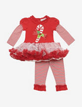 Rare Editions 2-pc. Candy Cane Tutu Top & Leggings Set – Baby 3-9 Mos.