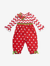 Rare Editions Red & White Chevron Polka Dot Print Jumpsuit – Baby 12-24 Mos.