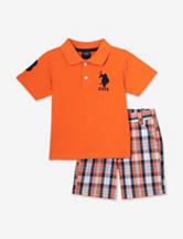 U.S. Polo Assn. 2-pc. Orange Piqué Polo Shirt & Plaid Shorts Set – Baby 12-24 Mos.