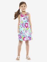 Youngland Turquoise & Fuchsia Floral Print Dress – Toddler Girls