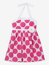 Pinky Pink & White Dot Print Sundress – Toddler Girls