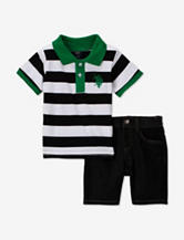 U.S. Polo Assn. 2-pc. Green Striped Polo Shirt & Jean Shorts Set – Baby 12-24 Mos.