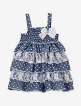 Little Lass Polka Dot Chambray & White Lace Tiered Dress – Baby 12-24 Mos.