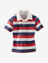 OshKosh B'gosh® Red, White & Blue Striped Jersey Polo Shirt – Toddler Boys