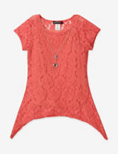 One Step Up Orange Floral Lace Sharkbite Layered-Look Top – Girls 7-16