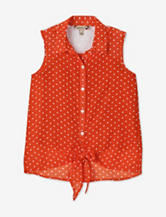 Speechless Orange Polka Dot Chiffon Tie Front Top – Girls 7-16