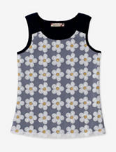 Speechless Navy & White Sequin Daisy Tank Top – Girls 7-16